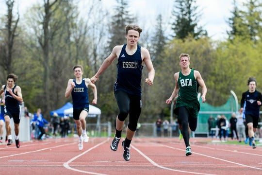 Essex's James Boldosser crosses the finish line in first place in the 400m dash during the Burlington Invitational high school track and field meet at Buck Hard Field on Saturday May 11, 2019 in Burlington, Vermont.