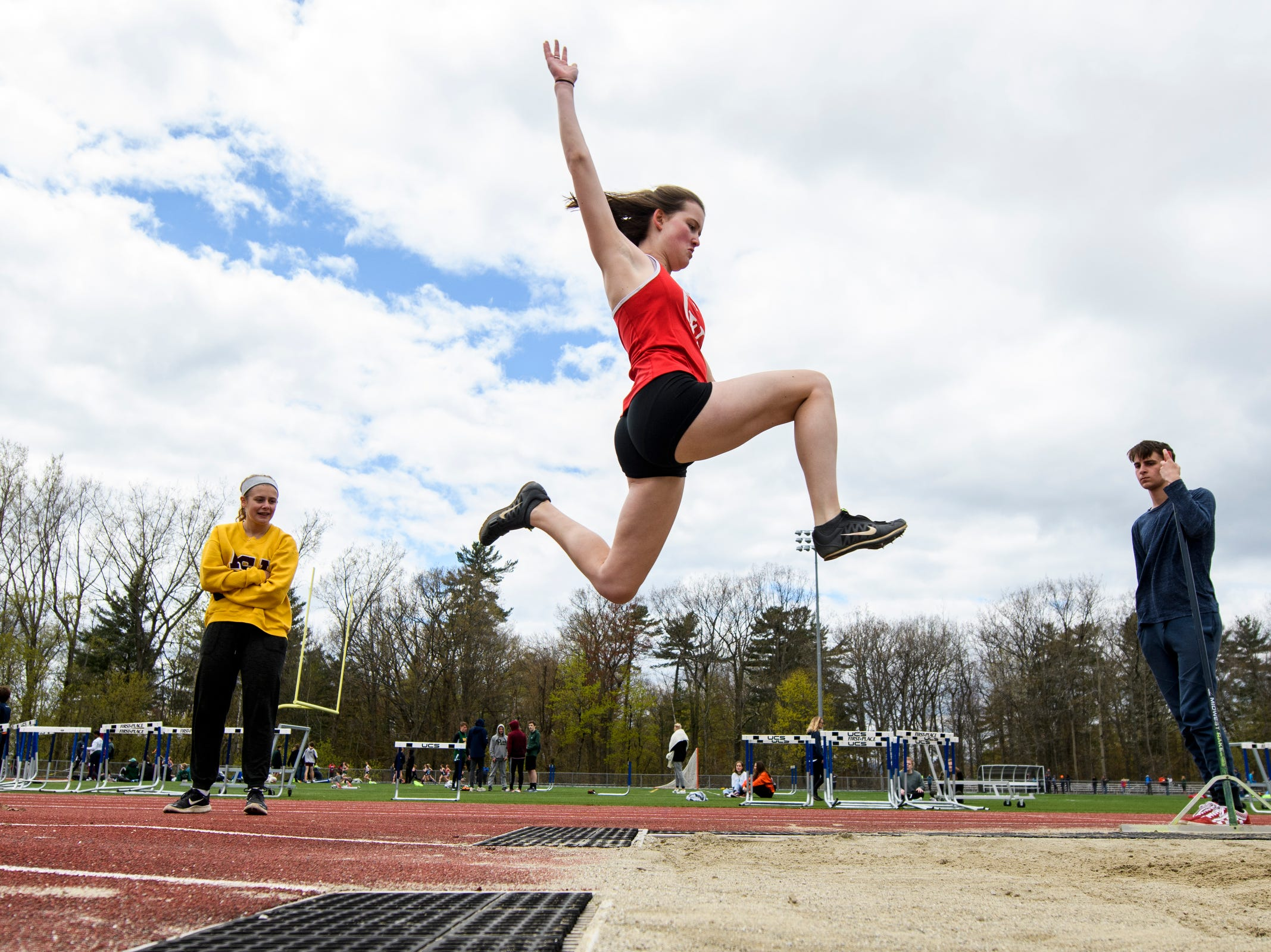 CVU's Elena Crites competes in the long jump during the Burlington Invitational high school track and field meet at Buck Hard Field on Saturday May 11, 2019 in Burlington, Vermont.