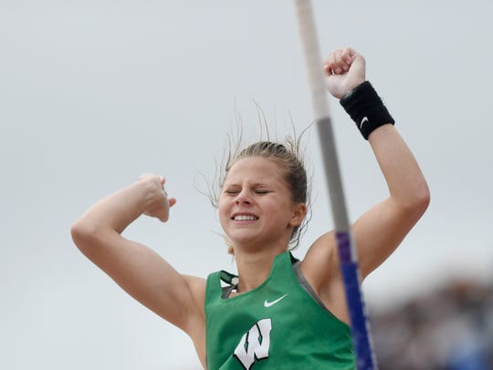 Woodsboro's Skylar Hall reacts after missing her third attempt of breaking her own 2A pole vault record during the UIL State Track and Field meet, Saturday, May 11, 2019, in Austin.