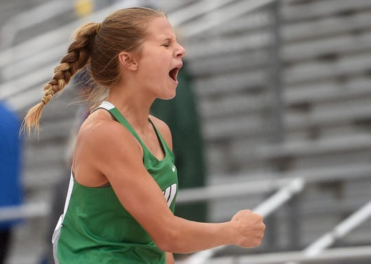 Woodsboro's Skylar Hall reacts during the 2A girls pole vault during the UIL State Track and Field meet, Saturday, May 11, 2019, in Austin.