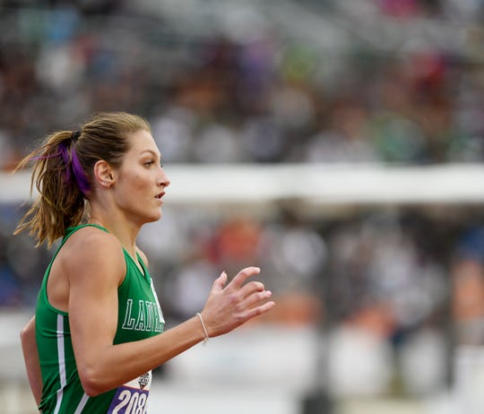 Wall's Jayden Fiebiger competes in the 3A girls 4x400 relay during the UIL State Track and Field meet, Friday, May 10, 2019, in Austin.