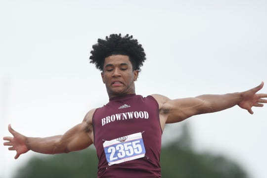 Brownwood's AJ McCarty competes in the triple jump during the UIL State Track and Field meet, Saturday, May 11, 2019, in Austin.