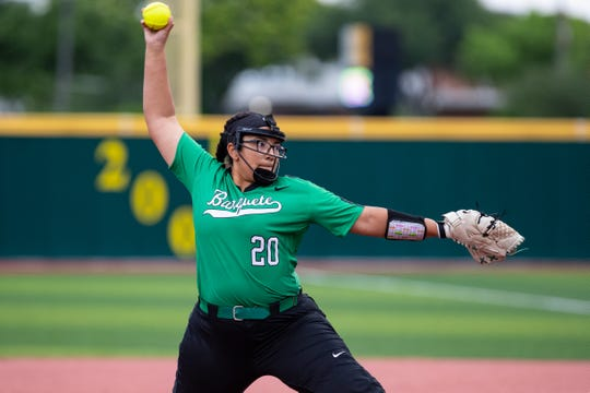BanqueteÕs Jalyn Harvey throws a pitch during the first inning of the Class 3A regional quarterfinals against Bishop at Cabaniss Softball Field on Friday, May 10, 2019.