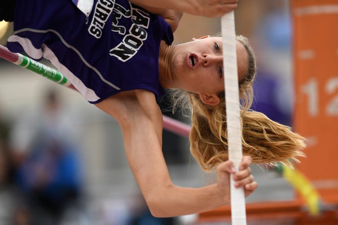 Mason's Tristin Keller competes in the 2A girls pole vault during the UIL State Track and Field meet, Saturday, May 11, 2019, in Austin.