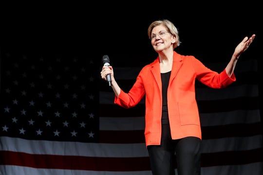 Democratic presidential candidate Sen. Elizabeth Warren, D-Mass., speaks during a campaign stop, Saturday, May 11, 2019, in Cincinnati.