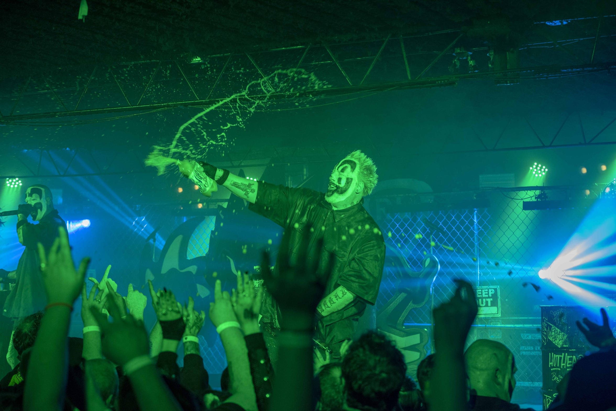Insane Clown Posse, also refered to as ICP ia an American hip hop  duo composed of Violent J and Shaggy 2Dope.  The band were the headliners at Riverfront Live's Fury Fest. Faygo soda gets sprayed into the audience.
