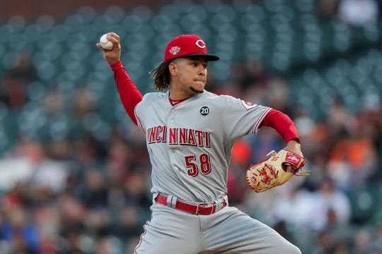 May 10, 2019; San Francisco, CA, USA; Cincinnati Reds starting pitcher Luis Castillo (58) throws a pitch during the first inning against the San Francisco Giants at Oracle Park. Mandatory Credit: Sergio Estrada-USA TODAY Sports