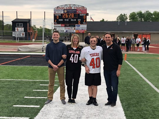 Ryan Paolino and family on Senior Night for Loveland lacrosse vs. CHCA May 10