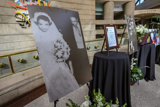 A wedding photo of Sixth Circuit Court Judge Damon Keith and his wife Rachel Boone from 1953 is on display during his  public visitation at the Charles H. Wright Museum of African American History in Detroit on Saturday, May 11, 2019.