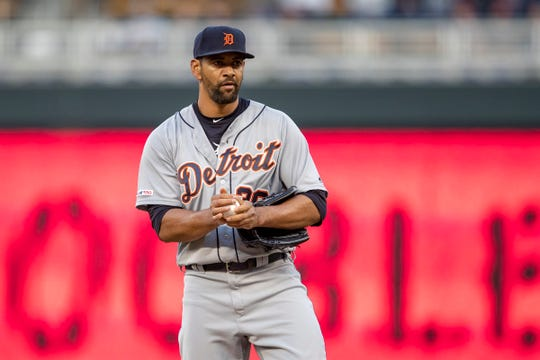 Detroit Tigers starting pitcher Tyson Ross (38) looks on after giving up two runs against the Minnesota Twins in the third inning at Target Field on Friday, May 10, 2019, in Minneapolis.