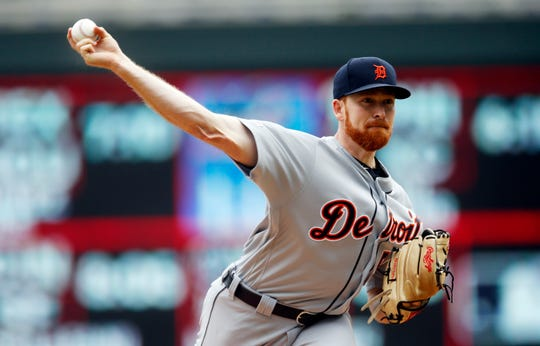 Detroit Tigers pitcher Spencer Turnbull throws against the Minnesota Twins in the first inning of a doubleheader, Saturday, May 11, 2019, in Minneapolis
