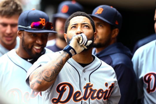 Detroit Tigers' Ronny Rodriguez celebrates after hitting a home run in the second inning against the Minnesota Twins at Target Field, Saturday, May 11, 2019, in Minneapolis.