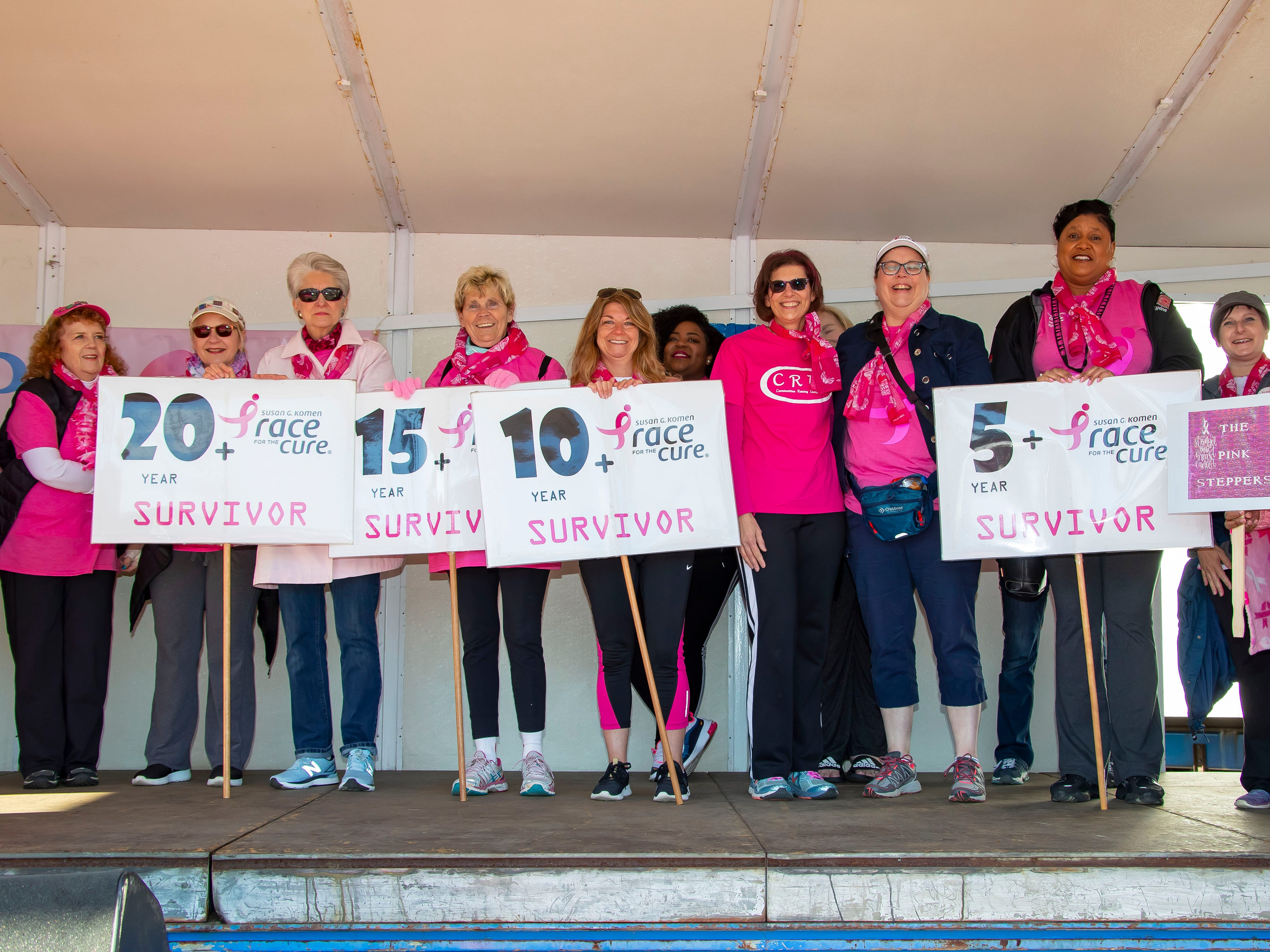 Cancer survivors are recognized on stage during the Susan G. Komen Race for the Cure at Comerica Park in Detroit Michigan. (Photo by Dave Reginek-Special to Detroit News)