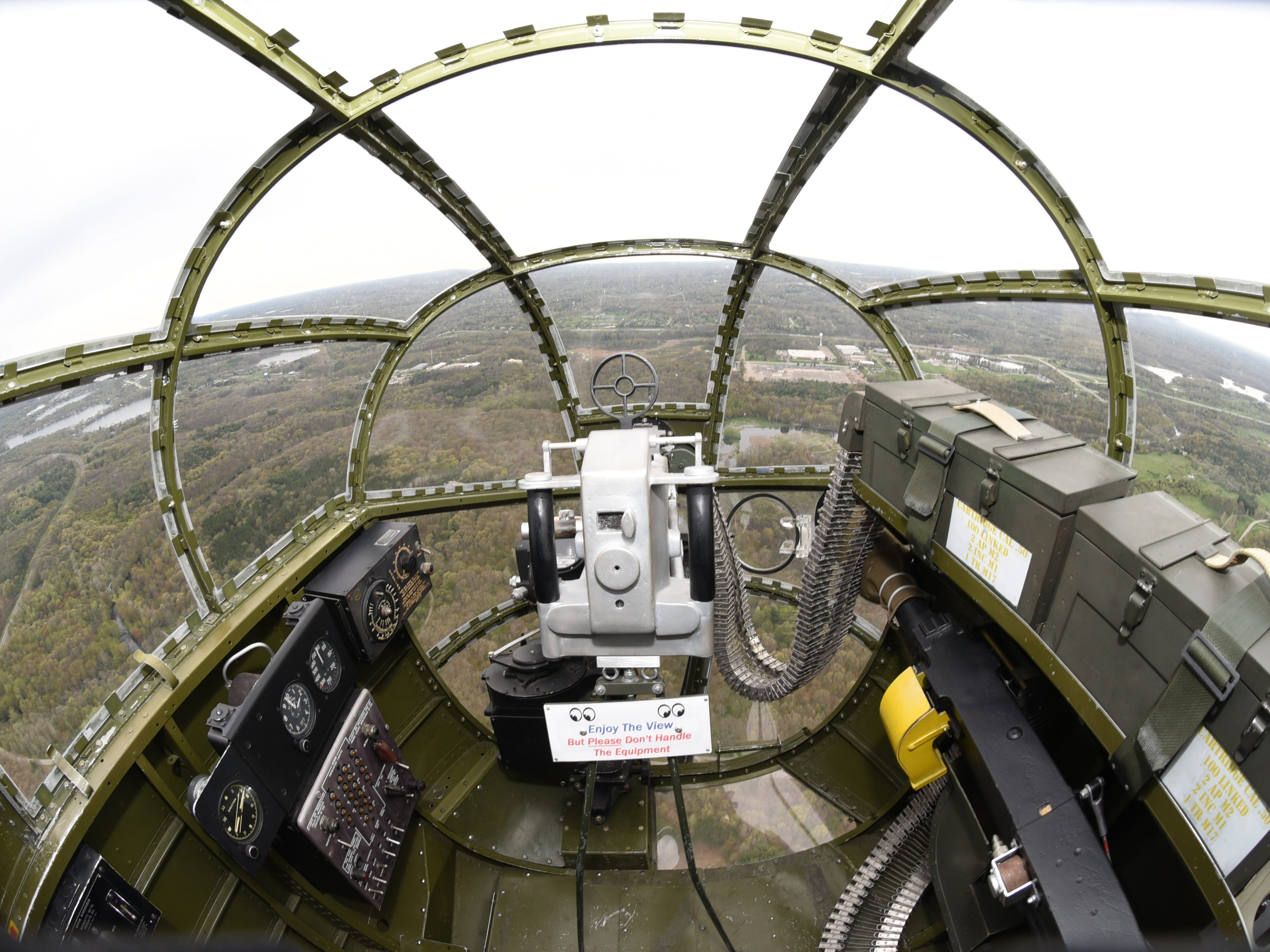 A spectacular view from the B-25 Mitchell Yankee Warrior's nose gunner seat during flight as the Yankee Air MuseumÕs B-25 Air Adventure program begins their season on Saturday, May 11, 2019.