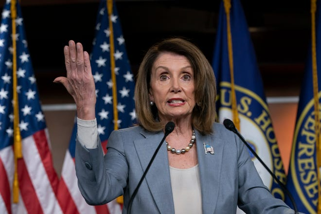 """Speaker of the House Nancy Pelosi, D-Calif., meets with reporters the day after the Democrat-controlled House Judiciary Committee voted to hold Attorney General William Barr in contempt of Congress, escalating the legal battle with the Trump administration over access to special counsel Robert Mueller's report, at a news conference on Capitol Hill in Washington, Thursday, May 9, 2019. Pelosi agreed with Nadler's assertion Wednesday that the Trump administration's refusal to provide the special counsel's full Russia report to Congress presents a """"constitutional crisis."""" (AP Photo/J. Scott Applewhite)"""