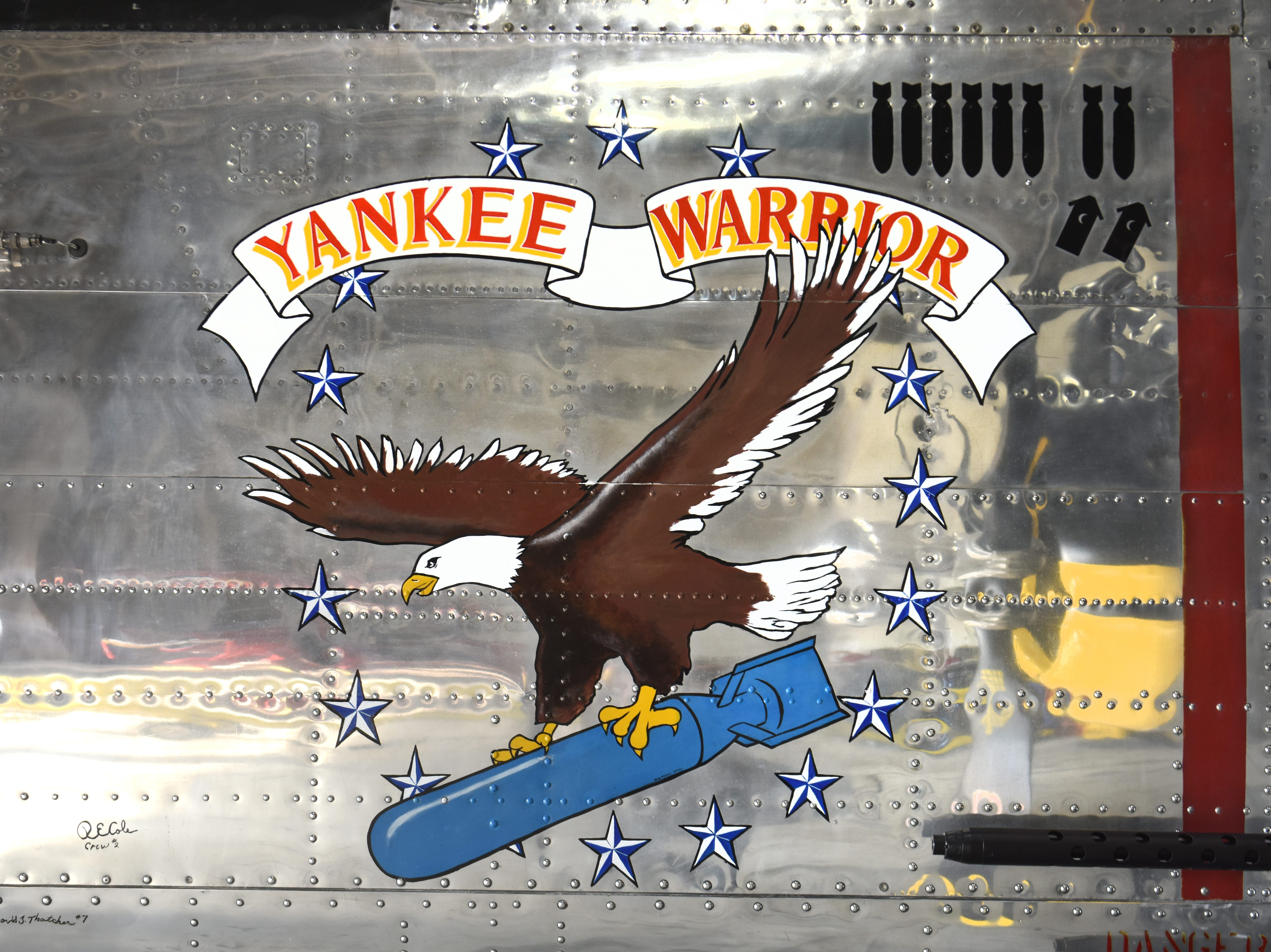 The insignia of the B-25 Mitchell Yankee Warrior at the Yankee Air Museum. The  famed bomber will begin flying from its home base at historic Willow Run Airport