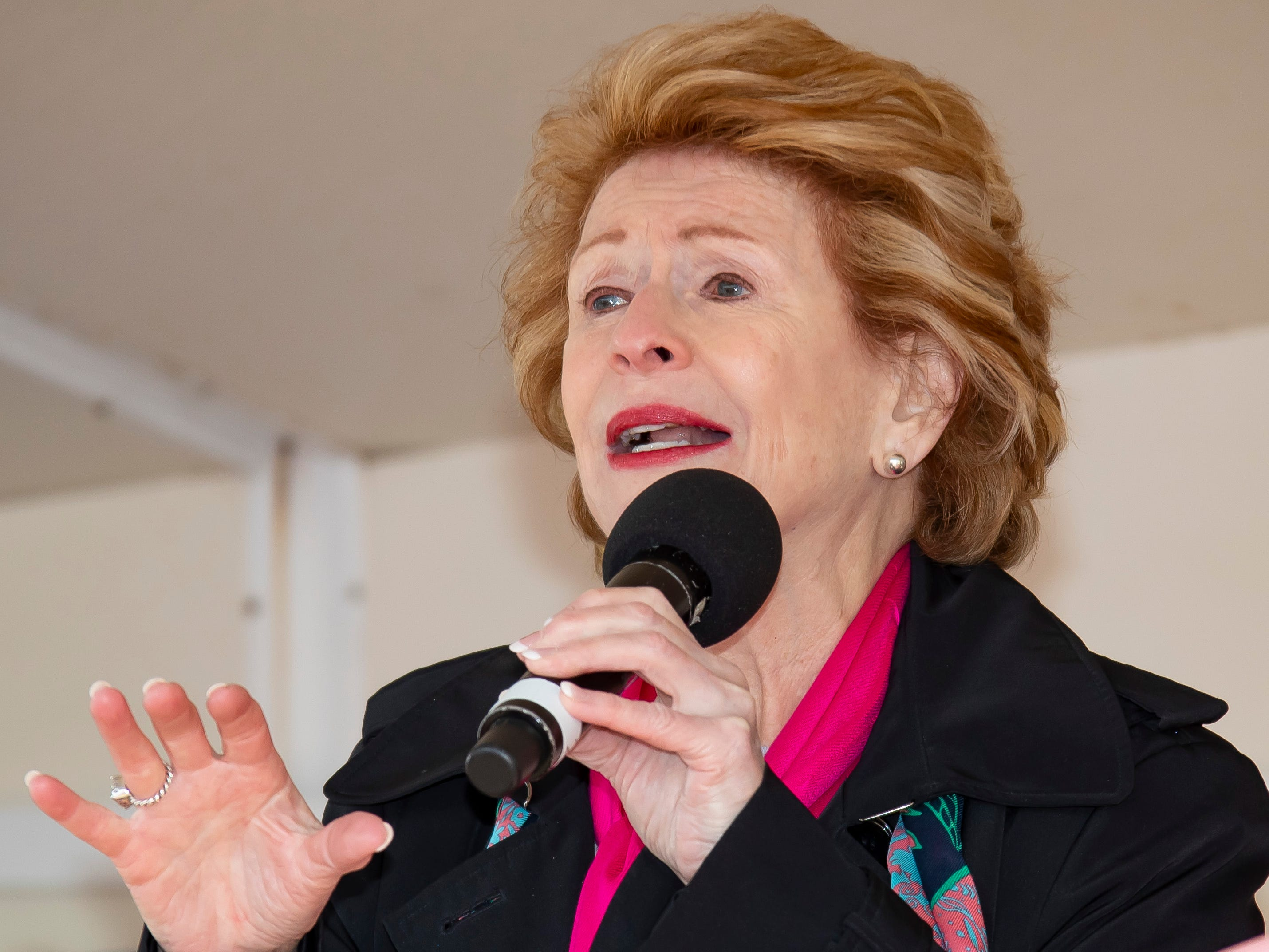 U.S. Senator Debbie Stabenow (D-MI) speaks during the Susan G. Komen Race for the Cure at Comerica Park in Detroit Michigan. (Photo by Dave Reginek-Special to Detroit News)