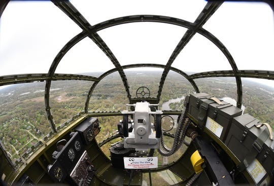 This is a view from the Yankee Warrior's nose gunner seat.