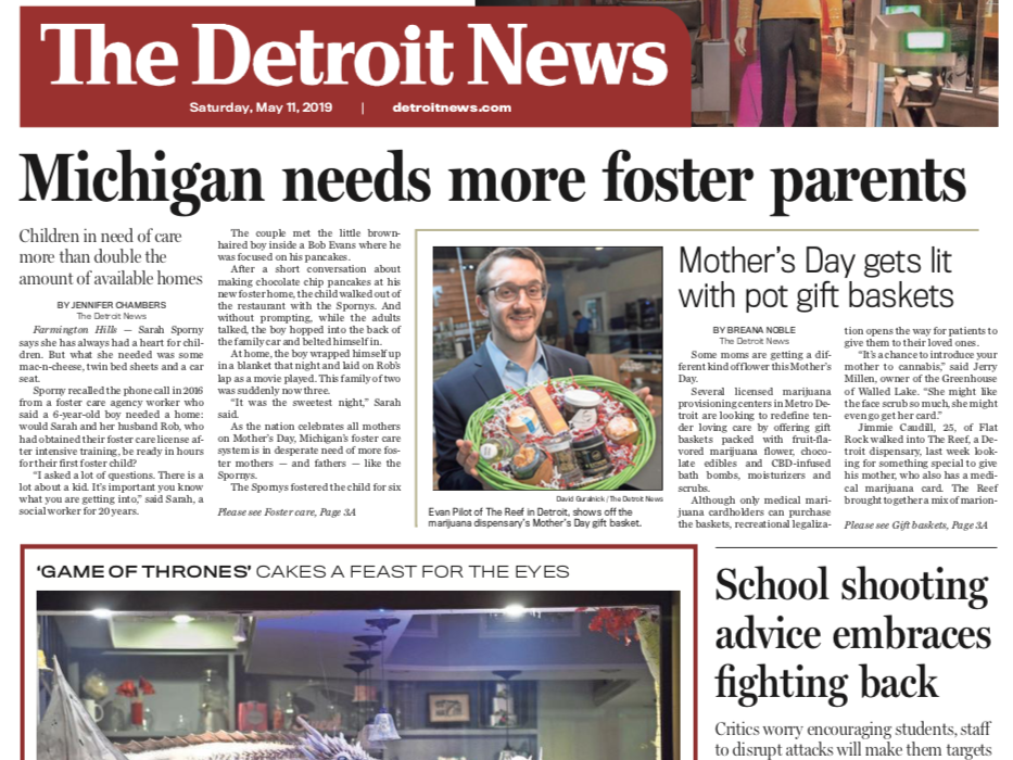 Front page of The Detroit News on Saturday, May 11, 2019