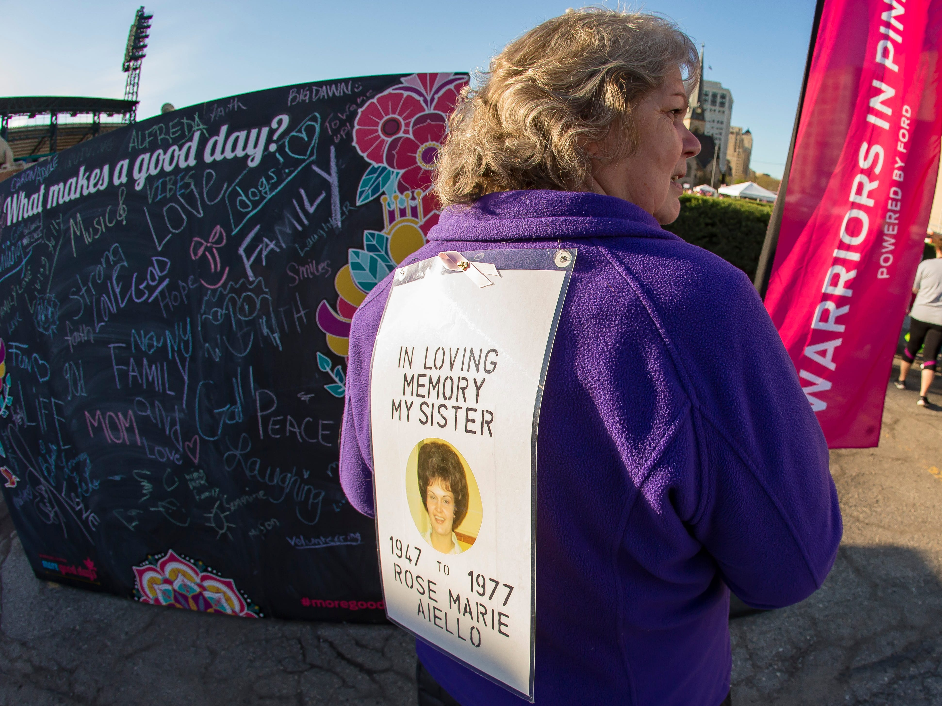 Diane McDonald participates in the Susan G. Komen Race for the Cure in honor of her sister at Comerica Park in Detroit Michigan. (Photo by Dave Reginek-Special to Detroit News)