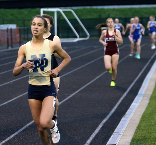 Alyssa Walker of Elmira Notre Dame finished second  in the girls 800 at the Fast Times Invitational at Corning-Painted Post High school on May 10, 2019.