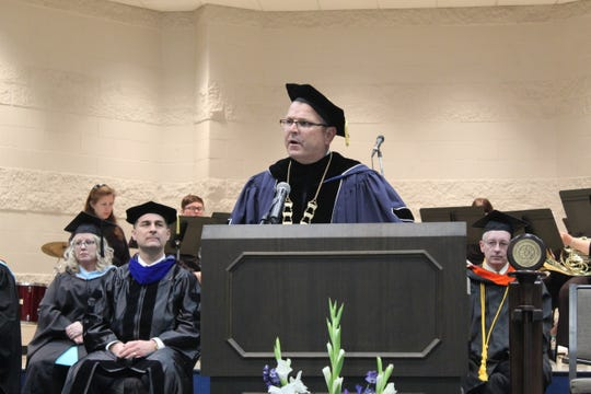 President Ron Schumacher spoke at Friday's Terra State Community College commencement ceremony. Schumacher said there were 187 students awarded associate degrees at the ceremony.