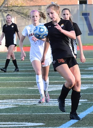 Delaney Lou Schorr, shown during a May 10, 2019, win over Fairview, and the Rocky Mountain High School girls soccer team will host a Class 5A quarterfinal game at 6 p.m. Wednesday at French Field against Rock Canyon.