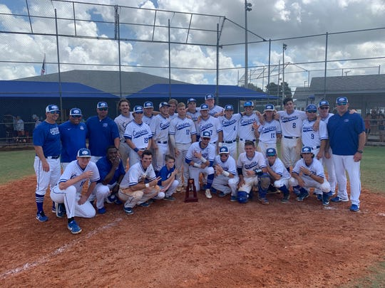 The Canterbury baseball team celebrates their sixth consecutive district title, after they defeated SFCA 10-0 Saturday morning.