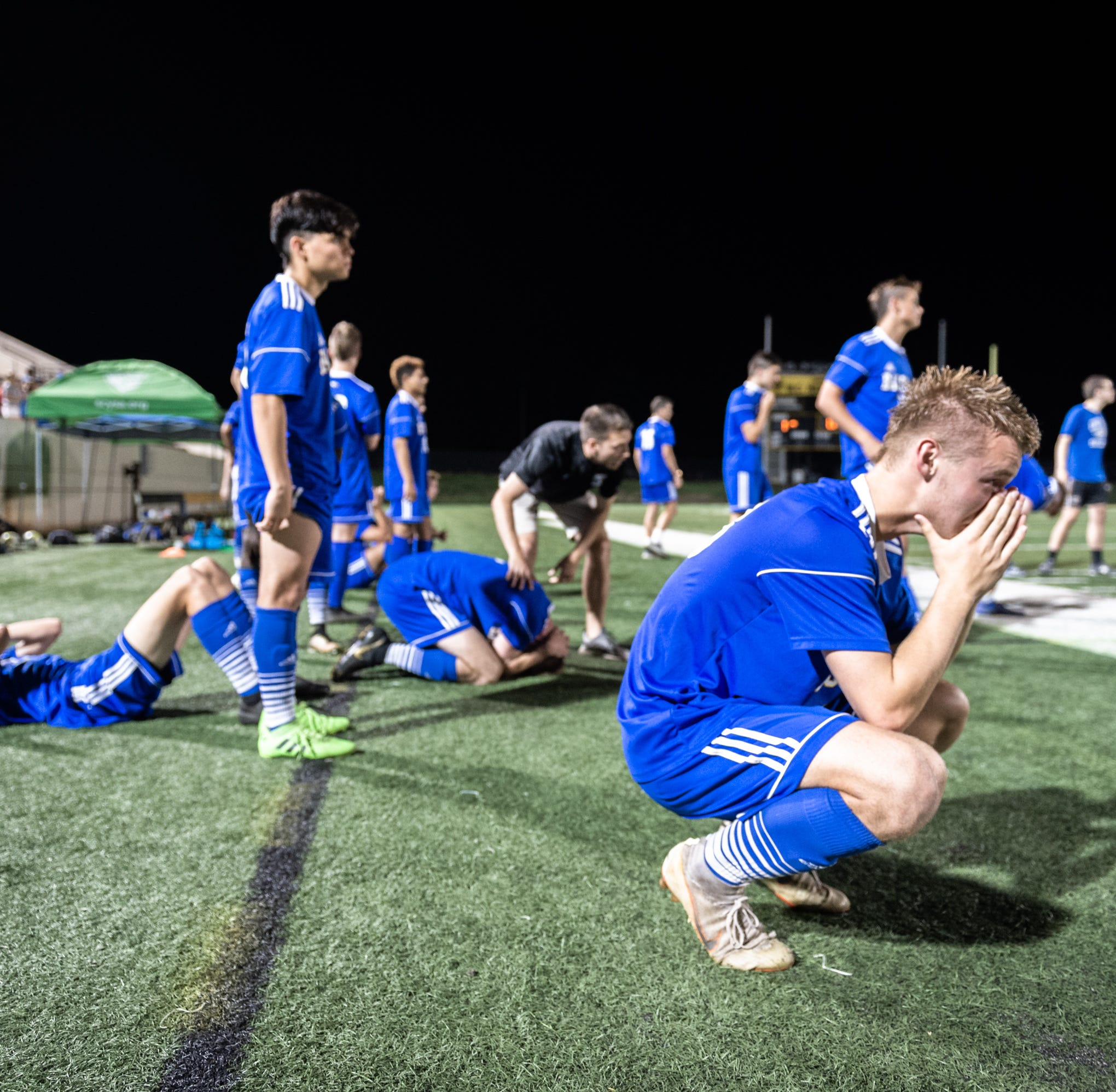 Eastside High School's Dylan Jeffress reacts to their 4-3 Class AAAA Championship game loss in penalty kicks to Dreher at Irmo High School in Columbia, Friday, May 10, 2019.