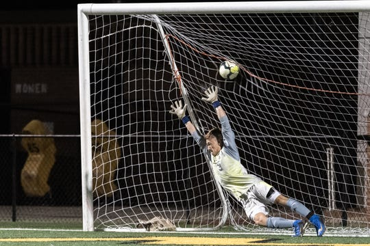 A penalty kick by Dreher gets by Eastside goalkeeper Shawn White during their AAAA Championship game at Irmo High School in Columbia, Friday, May 10, 2019. Dreher won 4-3 in penalty kicks.