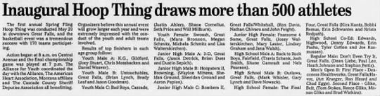 The Great Falls Tribune reported on the very first Spring Fling Hoop Thing in editions on May 21, 1995.