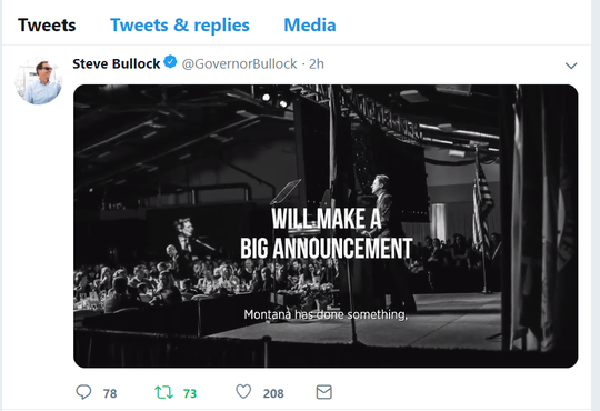 A video posted online promises a 'big announcement' from Gov. Steve Bullock.