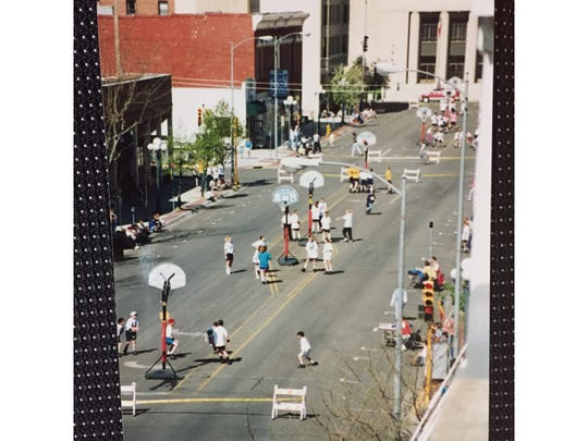 The very first Spring Fling Hoop Thing in 1995 was held in downtown Great Falls.
