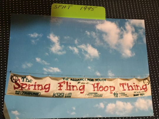 This was the banner for the very first Spring Fling Hoop Thing in 1995. It was hung across Central Avenue in downtown Great Falls, where the 3-on-3 tournament began.
