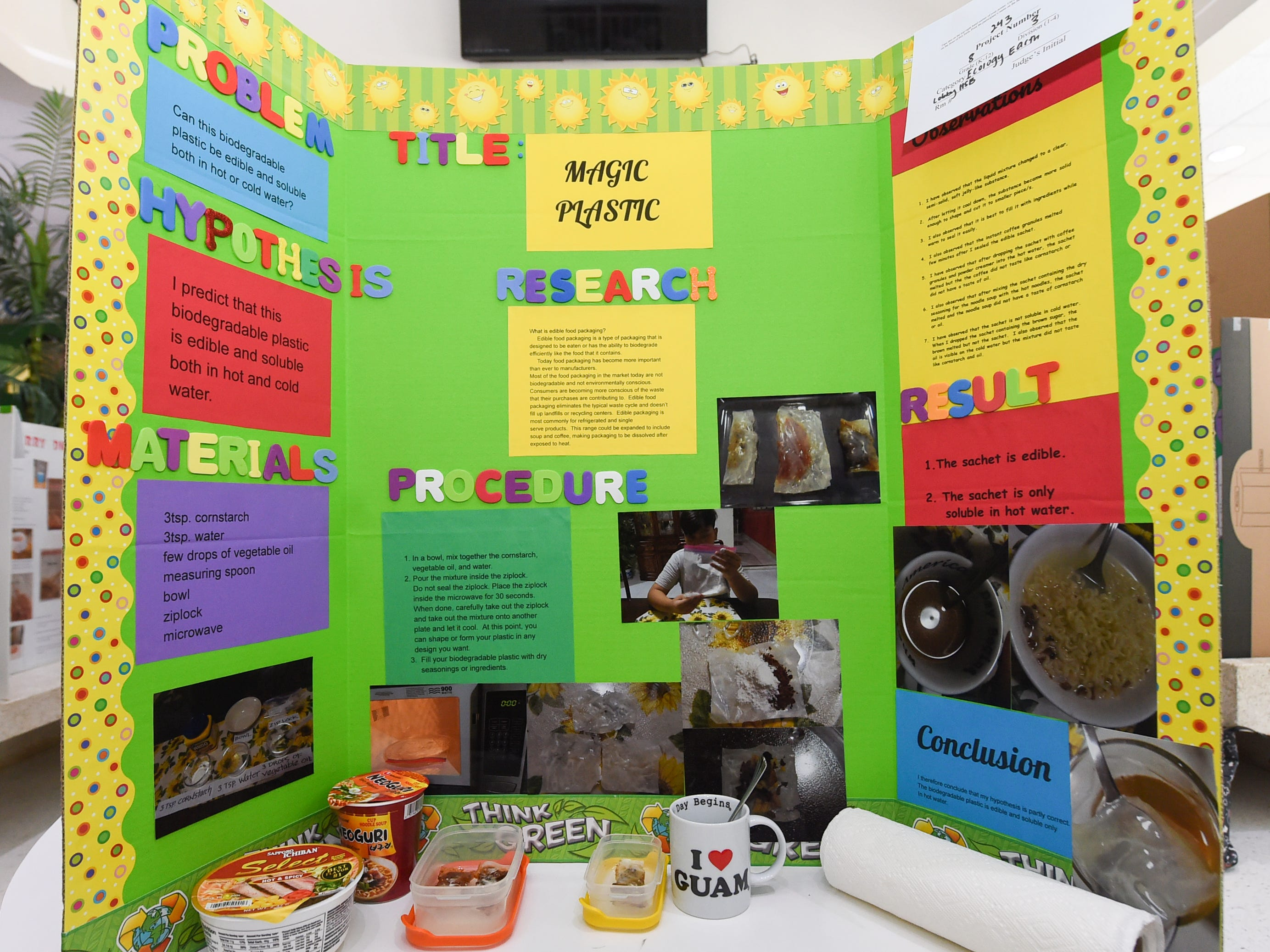 A science project by Joshua Valencia, 13, during the 41st Annual Islandwide Science Fair at the University of Guam in Mangilao, May 11, 2019.