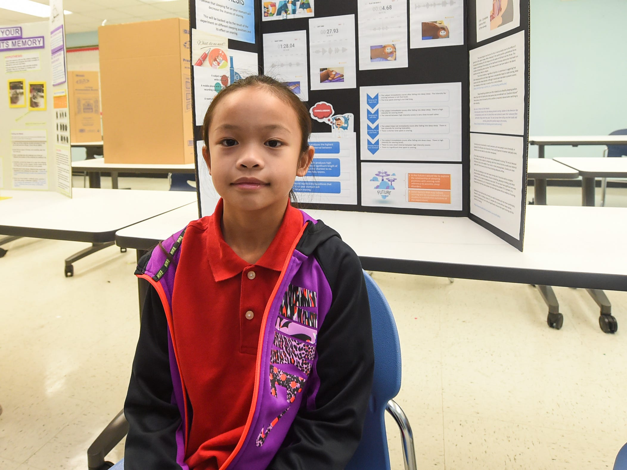 Cara Vidallon, 9, during the 41st Annual Islandwide Science Fair at the University of Guam in Mangilao, May 11, 2019.