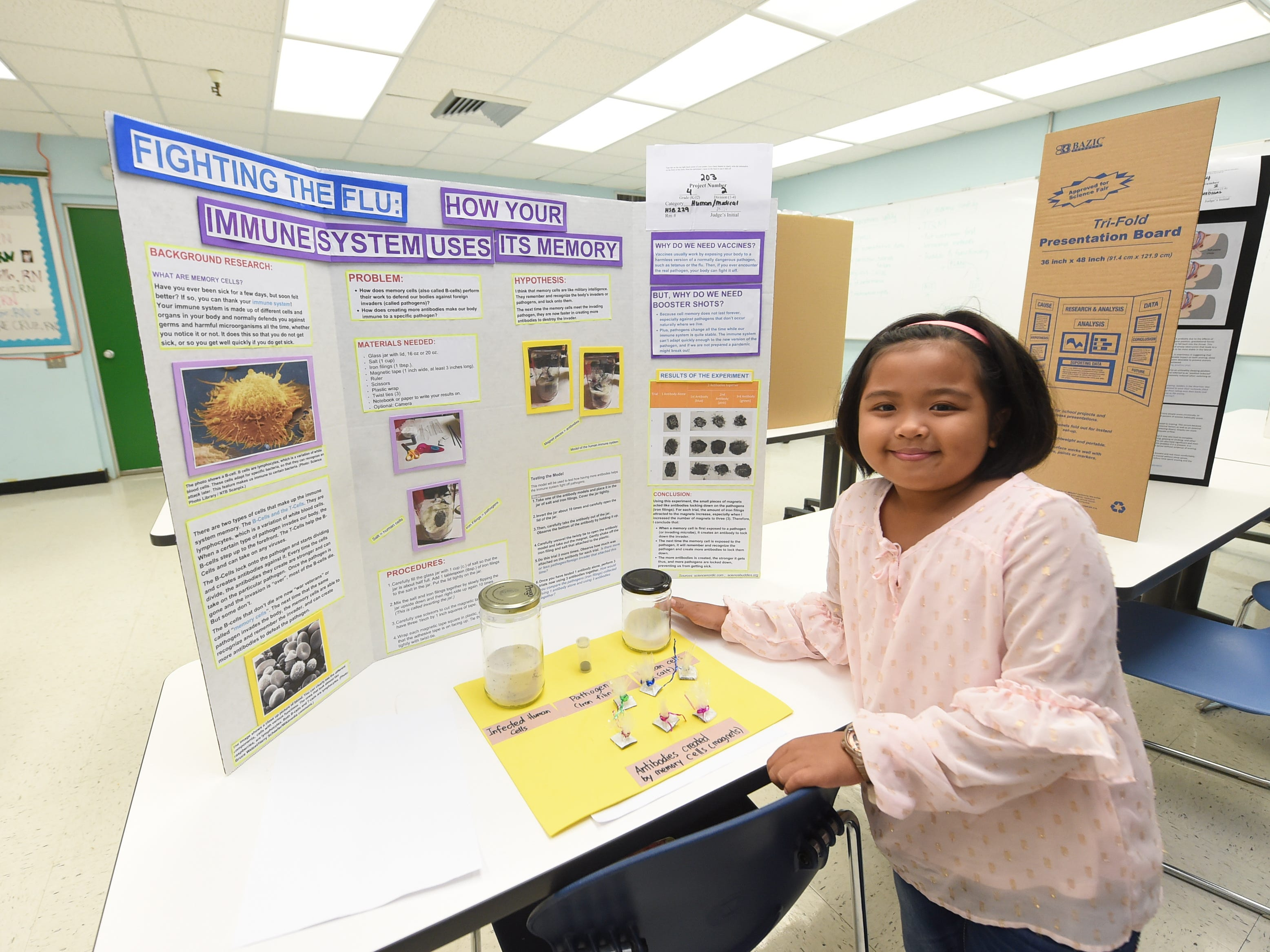 Lana Bisnar, 9, during the 41st Annual Islandwide Science Fair at the University of Guam in Mangilao, May 11, 2019.