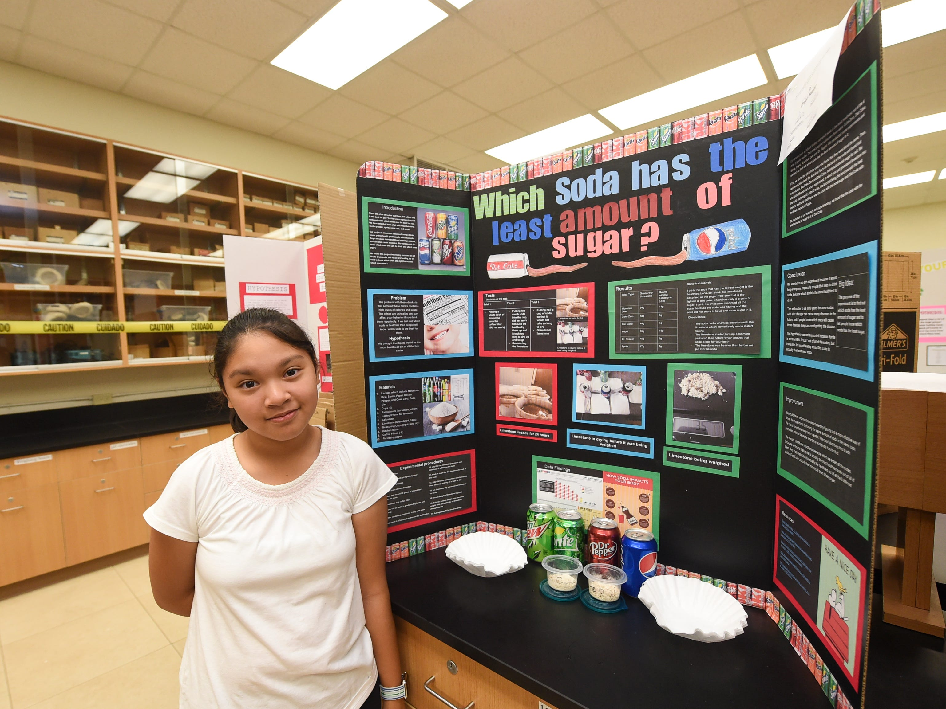 Sophia Garcia, 12, with her science project during the 41st Annual Islandwide Science Fair at the University of Guam in Mangilao, May 11, 2019.