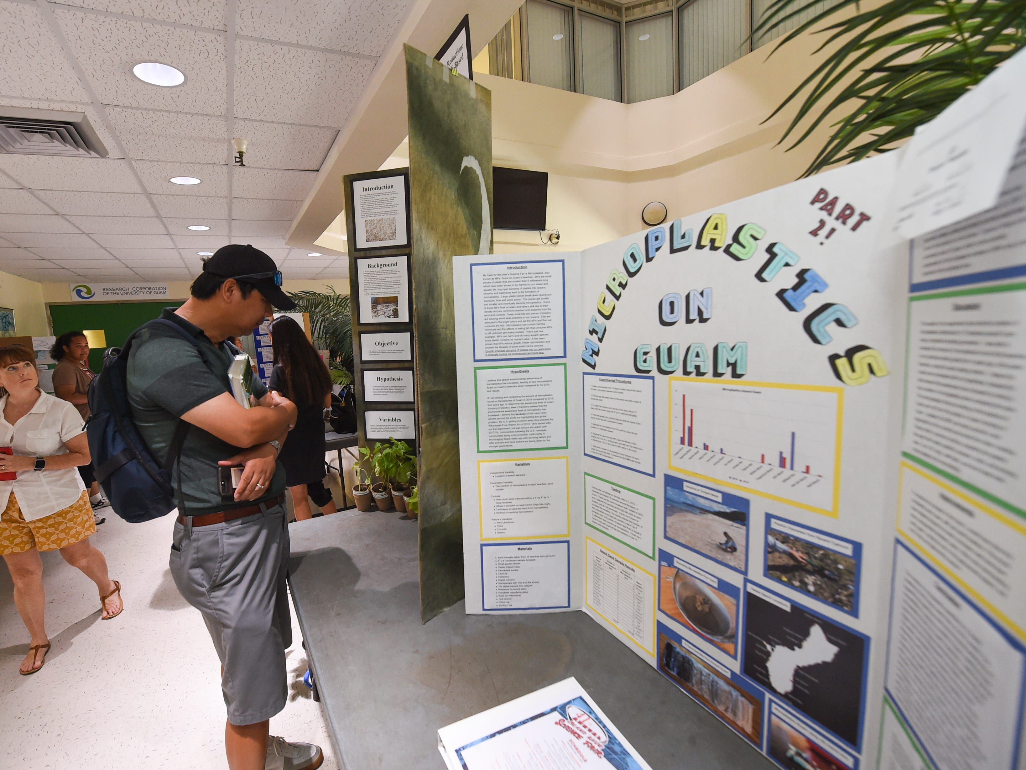 Science projects by high school and middle school students are displayed during the 41st Annual Islandwide Science Fair at the University of Guam in Mangilao, May 11, 2019.