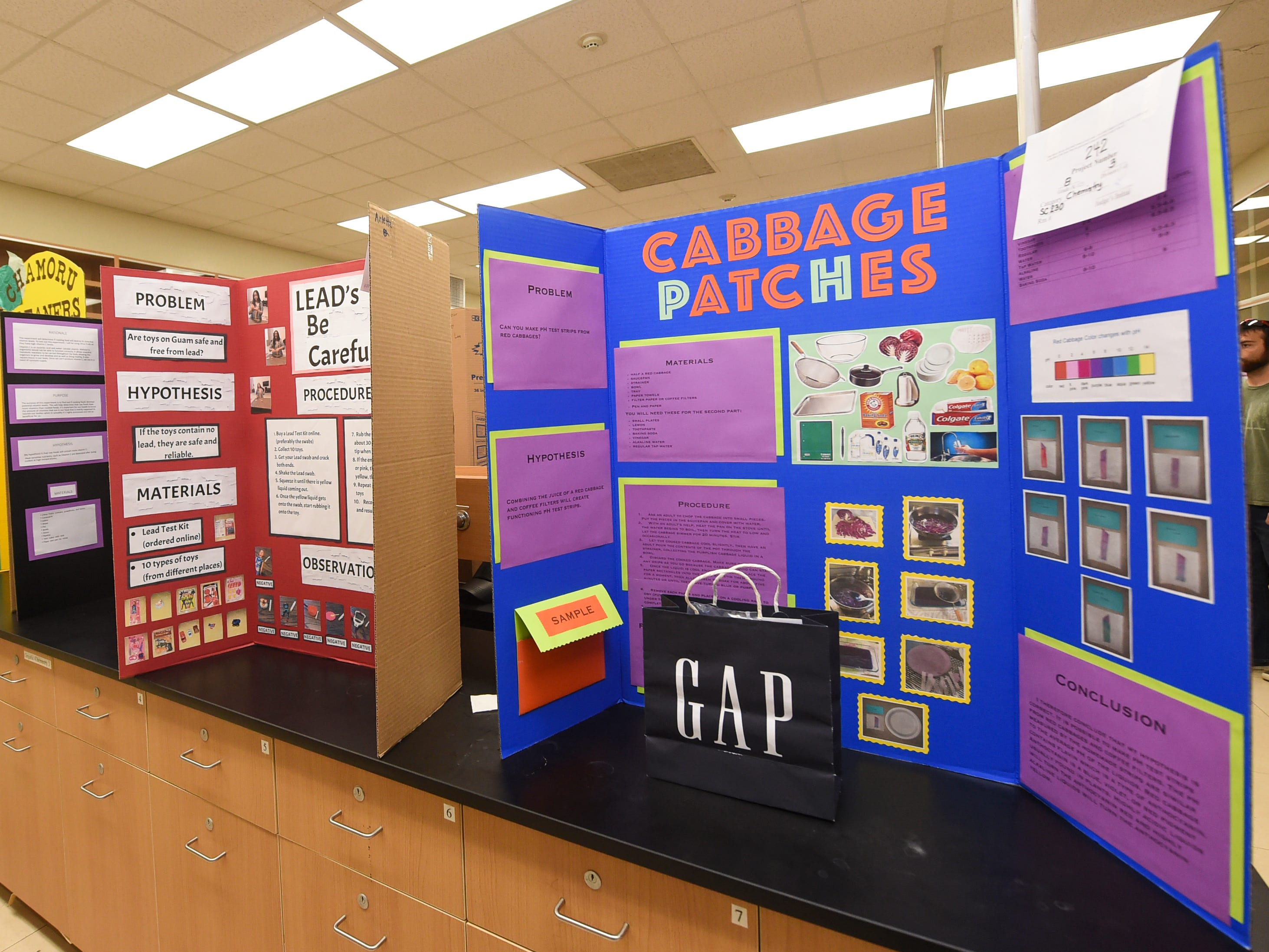 A variety of different science projects are displayed during the 41st Annual Islandwide Science Fair at the University of Guam in Mangilao, May 11, 2019.