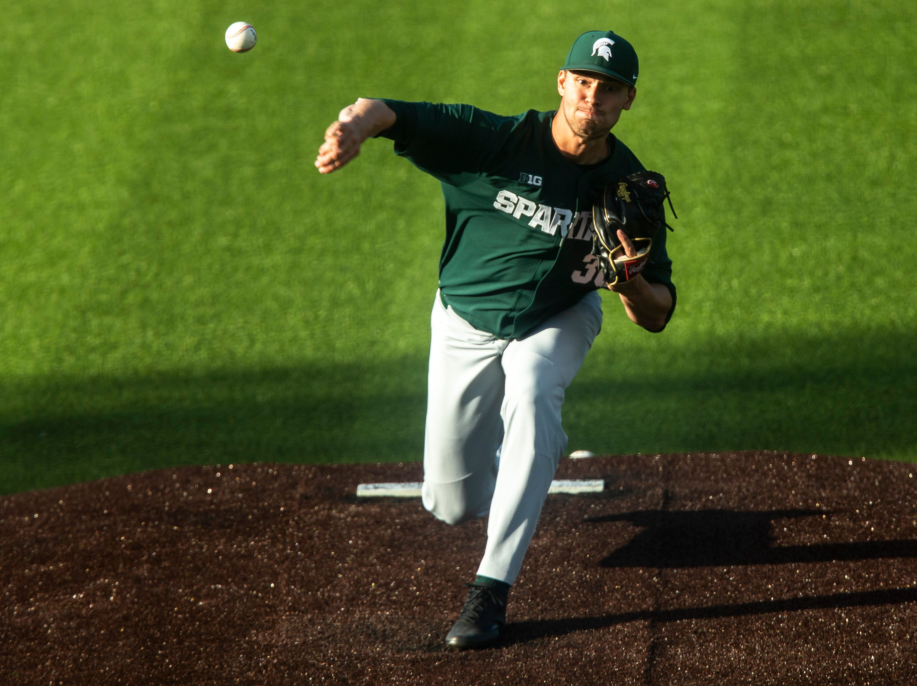 Michigan State's Mason Erla delivers a pitch during a NCAA Big Ten Conference baseball game, Friday, May 10, 2019, at Duane Banks Field on the University of Iowa campus in Iowa City, Iowa.