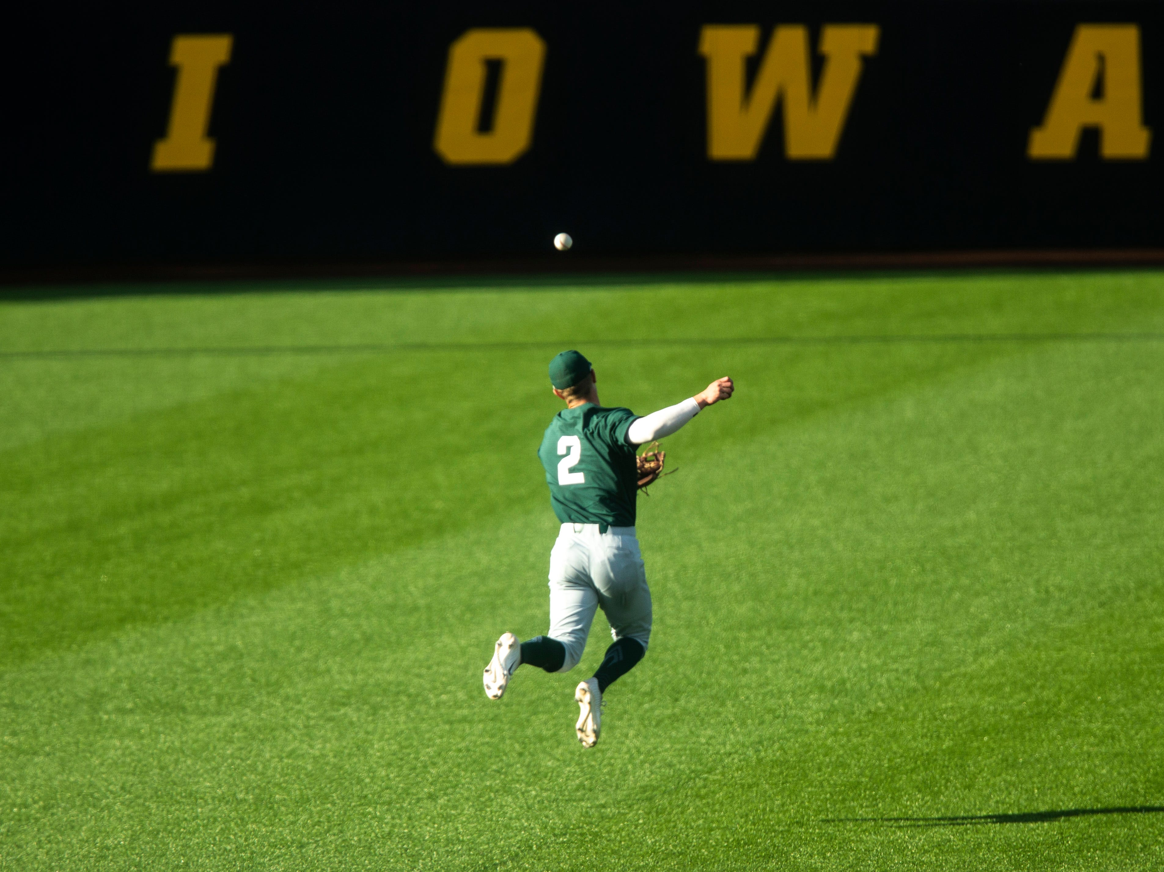 Michigan State's Marty Bechina (2) misses an out during a NCAA Big Ten Conference baseball game, Friday, May 10, 2019, at Duane Banks Field on the University of Iowa campus in Iowa City, Iowa.