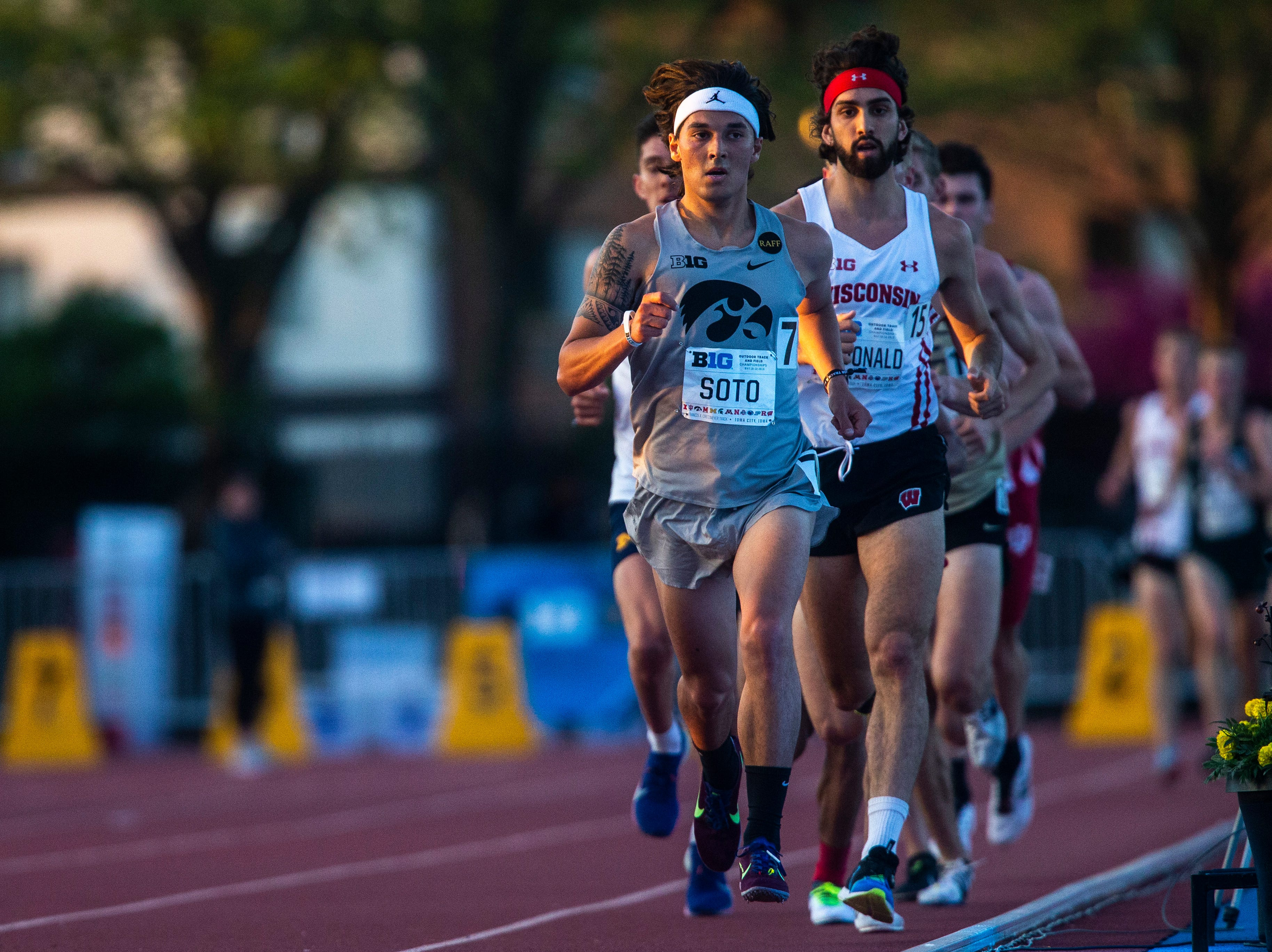 Iowa senior Daniel Soto, a West Des Moines Valley prep, leads the pack in the 10,000 meter during the first night of Big Ten track and field outdoor championships, Friday, May 10, 2019, at Francis X. Cretzmeyer Track on the University of Iowa campus in Iowa City, Iowa. Soto finished sixth, with a time of 29:44.40.