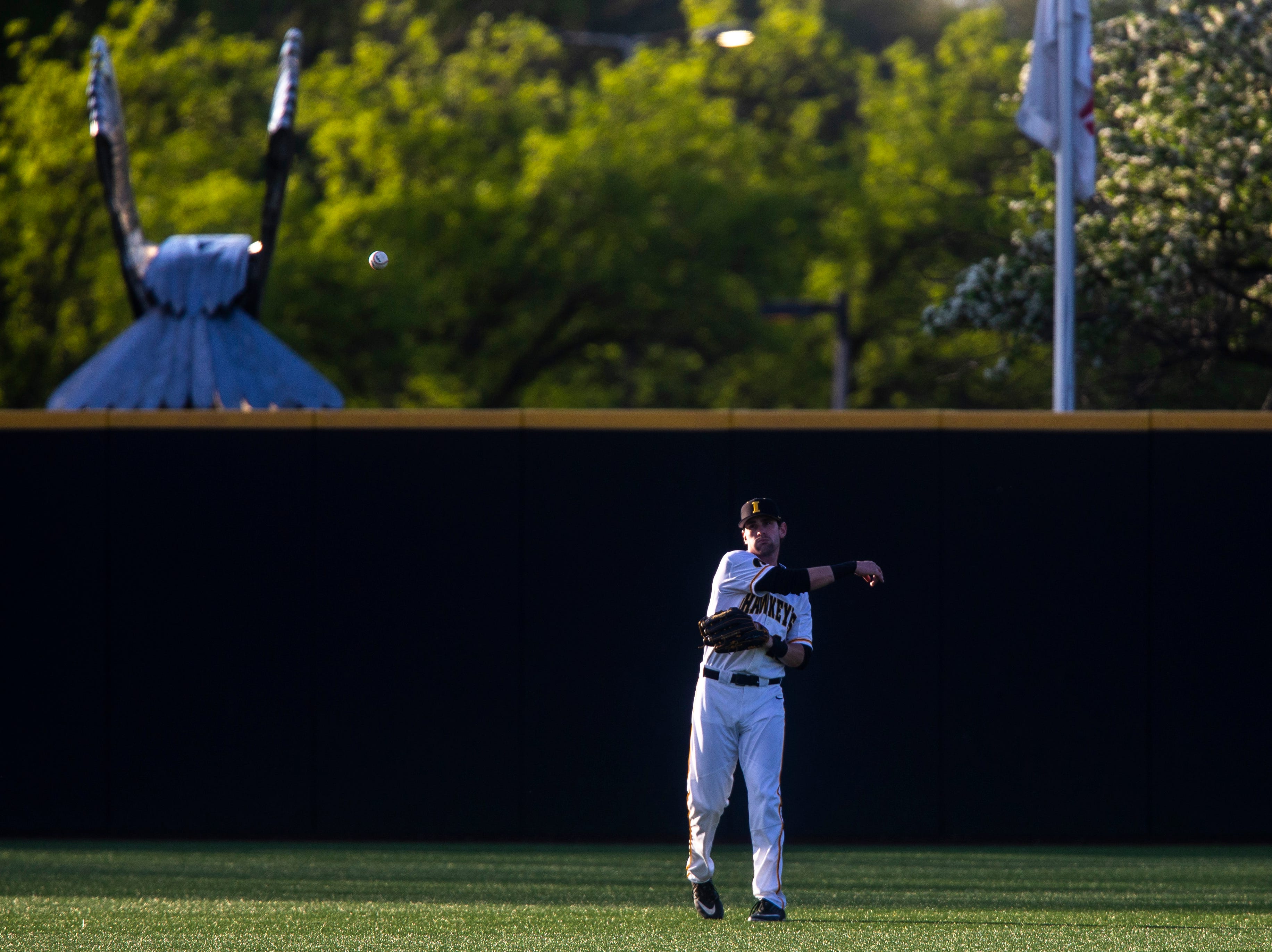 Iowa's Chris Whelan (28) throws a ball in during a NCAA Big Ten Conference baseball game, Friday, May 10, 2019, at Duane Banks Field on the University of Iowa campus in Iowa City, Iowa.