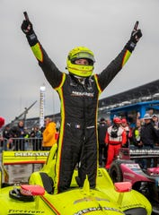 Team Penske driver Simon Pagenaud (22) celebrates winning the IndyCar Grand Prix at the Indianapolis Motor Speedway on Saturday, May 11, 2019.