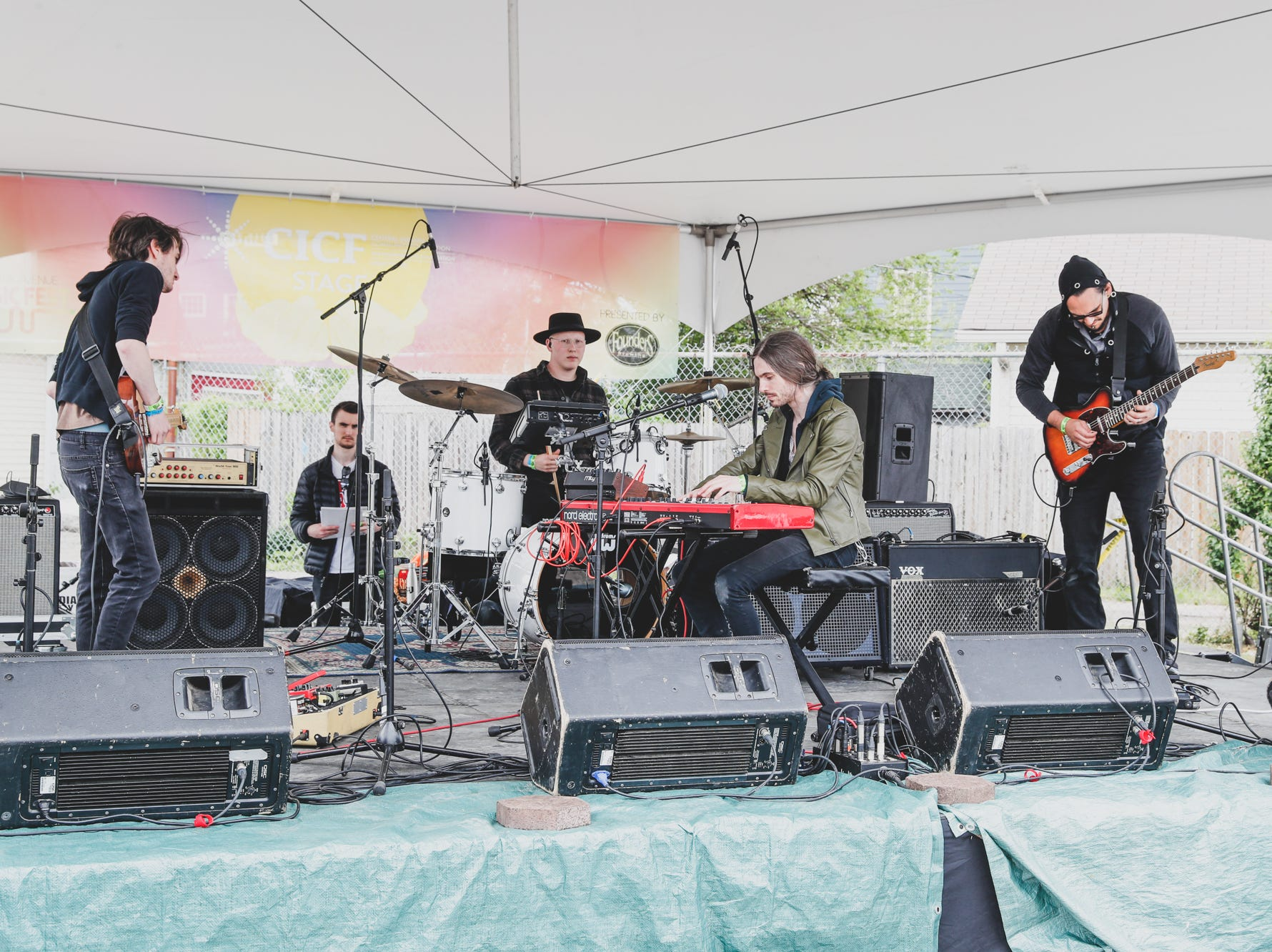 Among Authors warms up on the CICF Stage at Wildwood Market during the Virginia Avenue Music Fest, held in Fountain Square, located in Indianapolis, on Saturday, May 11, 2019.