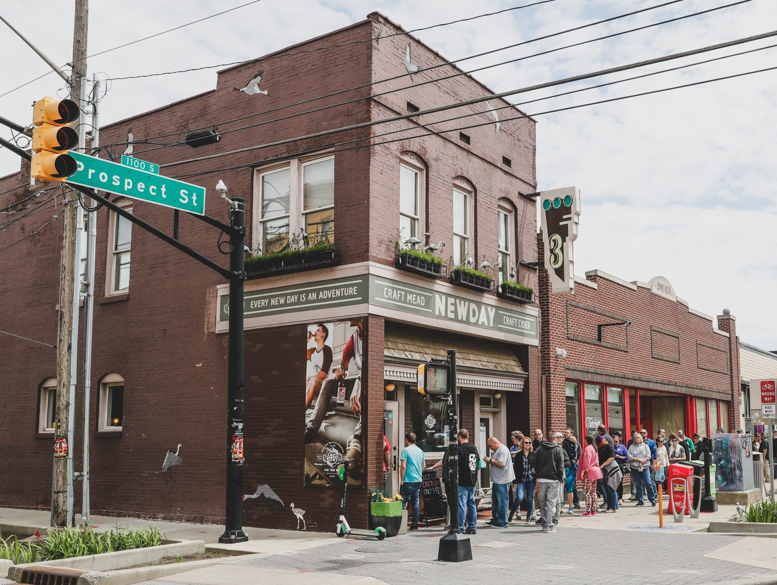 Festival-goers line up outside New Day Meadery, during the Virginia Avenue Music Fest, held in Fountain Square, located in Indianapolis, on Saturday, May 11, 2019.