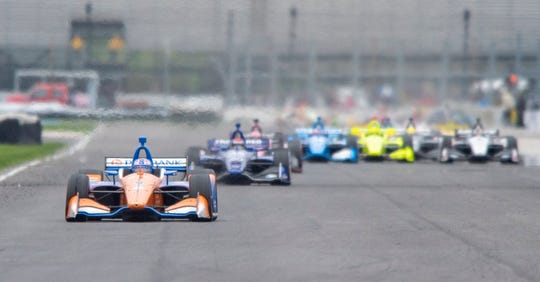 Chip Ganassi Racing driver Scott Dixon (9) heads into turn 7 during the running of the IndyCar Grand Prix on the road coarse at the Indianapolis Motor Speedway, Saturday, May 11, 2019.
