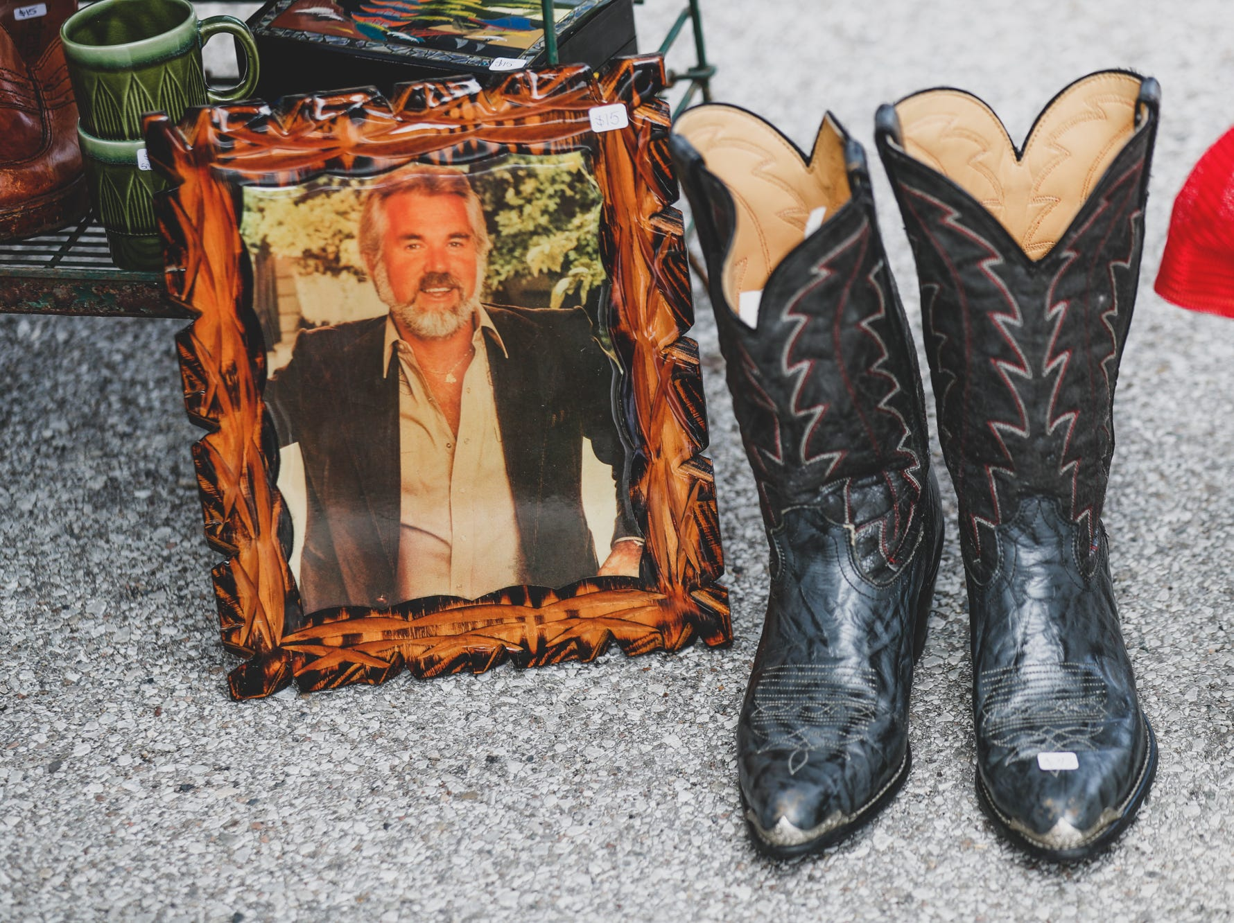 A 1980s Kenny Rogers portrait is for sale in the Roth Girl Vintage booth, during the Virginia Avenue Music Fest, held in Fountain Square, located in Indianapolis, on Saturday, May 11, 2019.