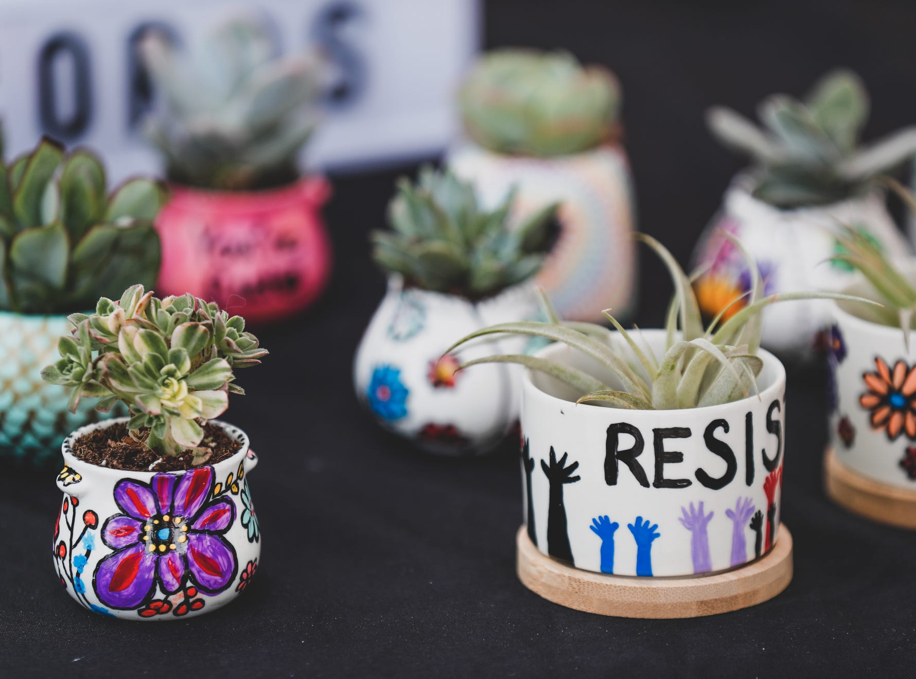 Ceramic planters are for sale in the Hippy Nerd Creations booth, during the Virginia Avenue Music Fest, held in Fountain Square, located in Indianapolis, on Saturday, May 11, 2019.